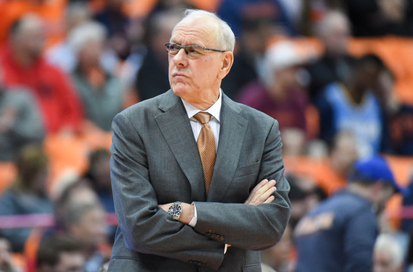 SYRACUSE, NY - JANUARY 07: Head coach Jim Boeheim of the Syracuse Orange looks on prior to the game against the Virginia Tech Hokies at the Carrier Dome on January 7, 2020 in Syracuse, New York. (Photo by Rich Barnes/Getty Images)