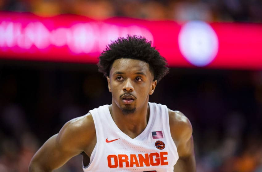 SYRACUSE, NY - DECEMBER 28: Elijah Hughes #33 of the Syracuse Orange pauses on the court during the first half against the Niagara Purple Eagles at the Carrier Dome on December 28, 2019 in Syracuse, New York. Syracuse defeats Niagara 71-57. (Photo by Brett Carlsen/Getty Images)
