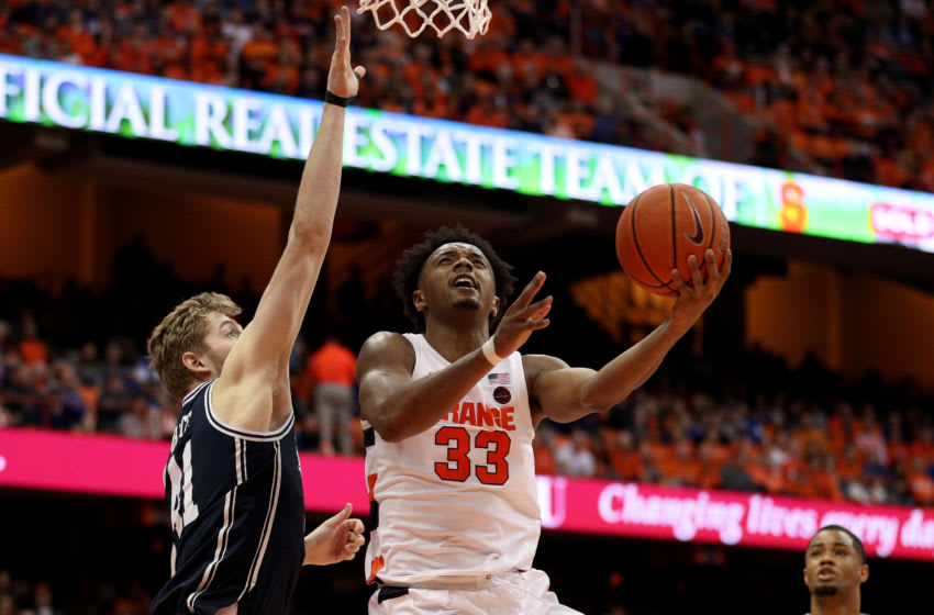 SYRACUSE, NEW YORK - FEBRUARY 01: Jack White #41 of the Duke Blue Devils guards Elijah Hughes #33 of the Syracuse Orange during the second half of an NCAA basketball game at the Carrier Dome on February 01, 2020 in Syracuse, New York. (Photo by Bryan M. Bennett/Getty Images)