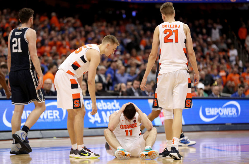 SYRACUSE, NEW YORK - FEBRUARY 01: Joseph Girard III #11 of the Syracuse Orange reacts during the second half of an NCAA basketball game against the Duke Blue Devils at the Carrier Dome on February 01, 2020 in Syracuse, New York. (Photo by Bryan M. Bennett/Getty Images)