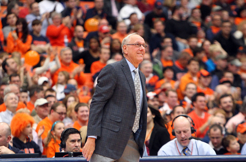 SYRACUSE, NY - NOVEMBER 18: Head coach Jim Boeheim of the Syracuse Orange smiles from the sideline during the game against the Wagner Seahawks at the Carrier Dome on November 18, 2012 in Syracuse, New York. (Photo by Nate Shron/Getty Images)