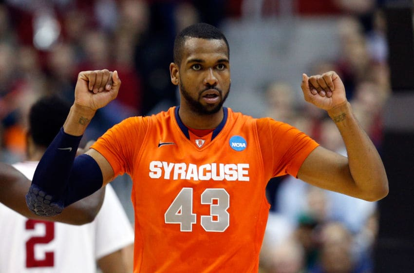 WASHINGTON, DC - MARCH 28: James Southerland #43 of the Syracuse Orange gestures against the Indiana Hoosiers during the East Regional Round of the 2013 NCAA Men's Basketball Tournament at Verizon Center on March 28, 2013 in Washington, DC. (Photo by Rob Carr/Getty Images)