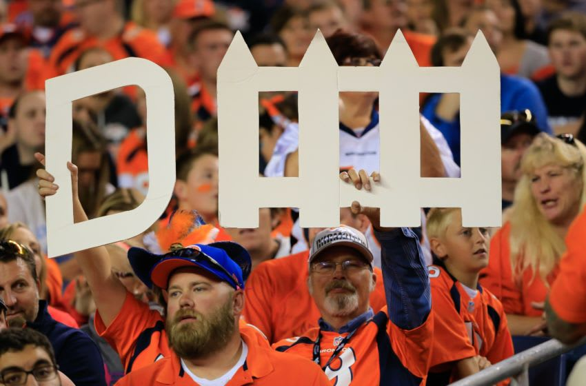 DENVER, CO - OCTOBER 23: Fans hold a sign for the Denver Broncos defense late in a game between the Denver Broncos and the San Diego Chargers at Sports Authority Field at Mile High on October 23, 2014 in Denver, Colorado. (Photo by Doug Pensinger/Getty Images)