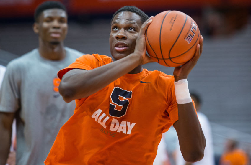 SYRACUSE, NY - DECEMBER 22: Tyler Roberson #21 of the Syracuse Orange warms up before the game against the Colgate Raiders on December 22, 2014 at The Carrier Dome in Syracuse, New York. (Photo by Brett Carlsen/Getty Images)