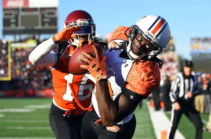 MOBILE, AL - JANUARY 24: Sammie Coates #18 of the South team catches a pass in front of Josh Shaw #16 of the North team during the second quarter of the Reese's Senior Bowl at Ladd Peebles stadium on January 24, 2015 in Mobile, Alabama. (Photo by Stacy Revere/Getty Images)