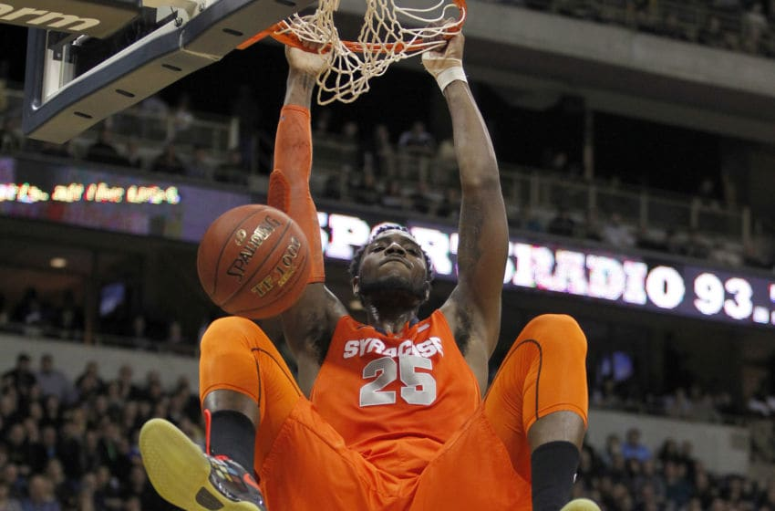 PITTSBURGH, PA - FEBRUARY 07: Rakeem Christmas #25 of the Syracuse Orange dunks the ball against the Pittsburgh Panthers during the game at Petersen Events Center on February 7, 2015 in Pittsburgh, Pennsylvania. (Photo by Justin K. Aller/Getty Images)