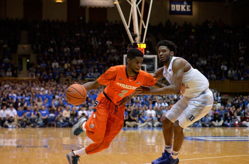 DURHAM, NC - FEBRUARY 28: B.J. Johnson #2 of the Syracuse Orange drives against Justise Winslow #12 of the Duke Blue Devils during their game at at Cameron Indoor Stadium on February 28, 2015 in Durham, North Carolina. Duke won 73-54. (Photo by Grant Halverson/Getty Images)