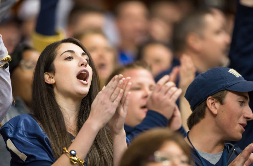 SYRACUSE, NY - OCTOBER 24: Pittsburgh Panthers fans cheer against the Syracuse Orange during the second half on October 24, 2015 at The Carrier Dome in Syracuse, New York. Pittsburgh defeats Syracuse 23-20. (Photo by Brett Carlsen/Getty Images)