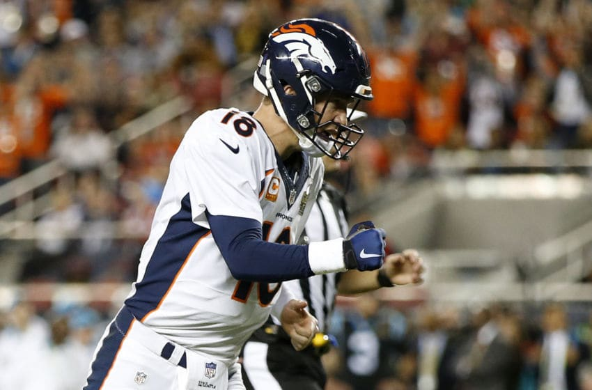 SANTA CLARA, CA - FEBRUARY 07: Peyton Manning #18 of the Denver Broncos reacts after a touchdown against the Carolina Panthers during Super Bowl 50 at Levi's Stadium on February 7, 2016 in Santa Clara, California. (Photo by Ezra Shaw/Getty Images)