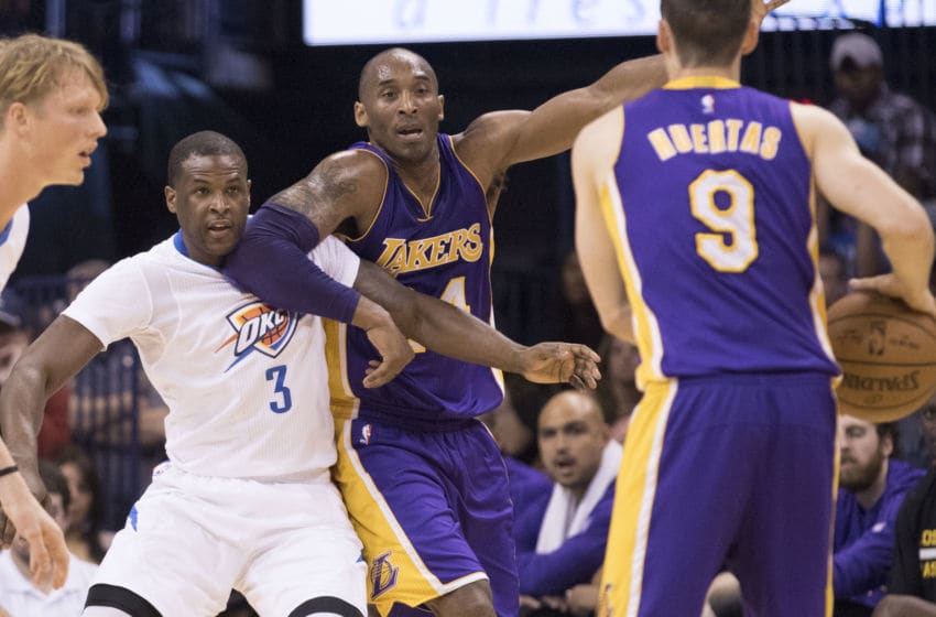 OKLAHOMA CITY, OK - APRIL 11: Marcelo Huertas #9 of the Los Angeles Lakers passes the ball to Kobe Bryant #24 of the Los Angeles Lakers as Dion Waiters #3 of the Oklahoma City Thunder applies pressure during a NBA game at the Chesapeake Energy Arena on April 11, 2016 in Oklahoma City, Oklahoma. NOTE TO USER: User expressly acknowledges and agrees that, by downloading and or using this photograph, User is consenting to the terms and conditions of the Getty Images License Agreement. (Photo by J Pat Carter/Getty Images)
