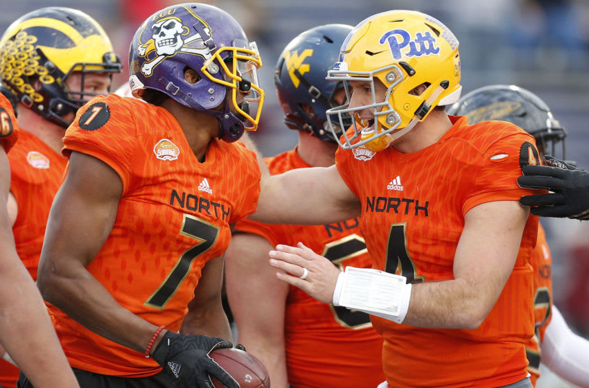 MOBILE, AL - JANUARY 28: Nate Peterman #4 of the North team celebrates with Zay Jones #7 of the North team during the second half of the Reese's Senior Bowl at the Ladd-Peebles Stadium on January 28, 2017 in Mobile, Alabama. (Photo by Jonathan Bachman/Getty Images)
