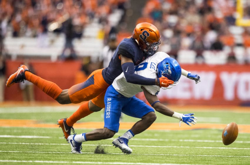 SYRACUSE, NY - SEPTEMBER 09: Jordan Martin #2 of the Syracuse Orange breaks up a pass intended for Ty Lee #8 of the Middle Tennessee Blue Raiders during the second quarter on September 9, 2017 at The Carrier Dome in Syracuse, New York. (Photo by Brett Carlsen/Getty Images)