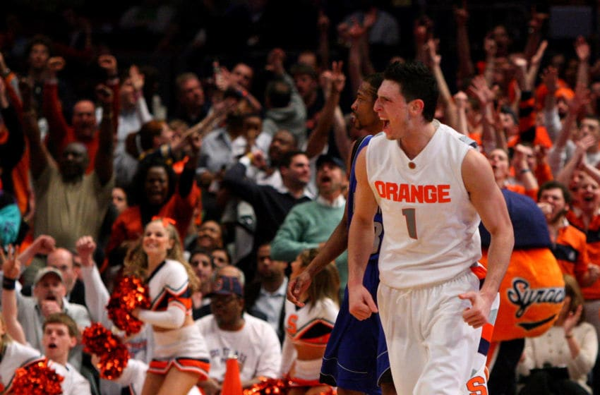 NEW YORK - MARCH 11: Andy Rautins #1 of the Syracuse Orange reacts between plays against the Seton Hall Pirates during the second round of the Big East Tournament at Madison Square Garden on March 11, 2009 in New York City. (Photo by Jim McIsaac/Getty Images)