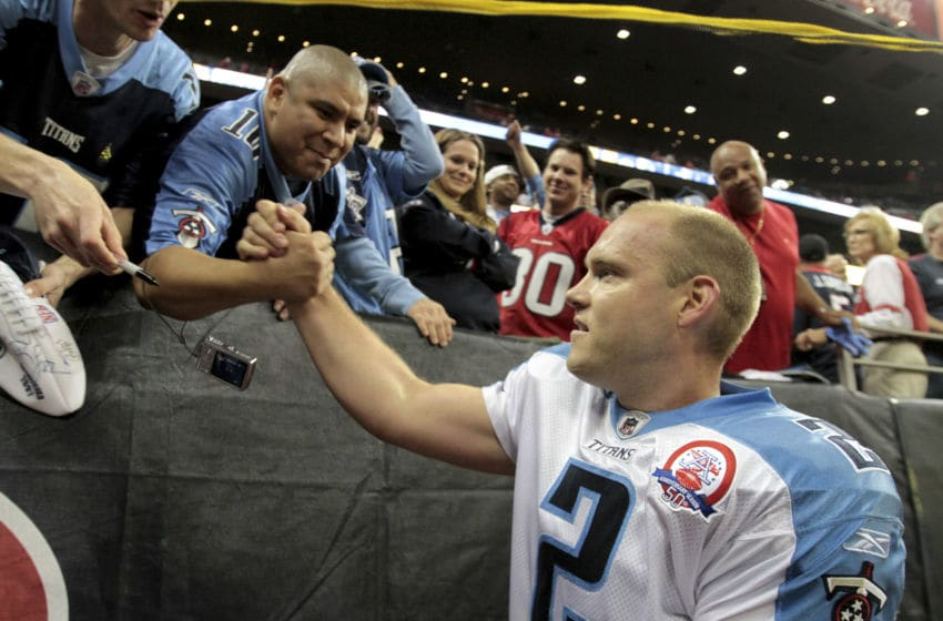 HOUSTON - NOVEMBER 23: Kicker Rob Bironas #2 of the Tennessee Titans receives congratulations from Titan fans as he leaves the field after defeating Houston 20-17 at Reliant Stadium on November 23, 2009 in Houston, Texas. Bironas' 53 yard field goal turned out to be the winning kick. (Photo by Bob Levey/Getty Images)
