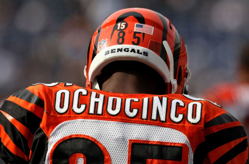 SAN DIEGO - DECEMBER 20: Chad Ochocinco #85 of the Cincinnati Bengals wears the number 15 on his helmet honoring deceased teammate Chris Henry during warmups before the game with the San Diego Chargers on December 20, 2009 at Qualcomm Stadium in San Diego, California. (Photo by Stephen Dunn/Getty Images)
