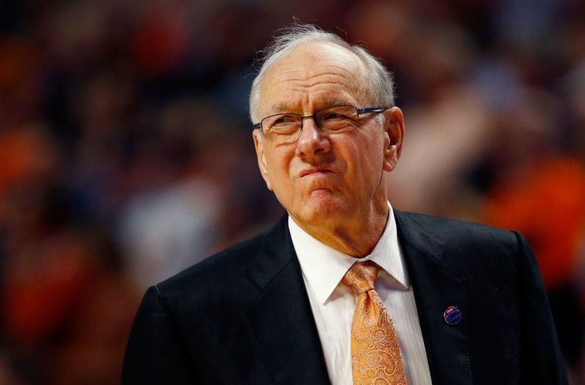 CHICAGO, IL - MARCH 27: Head coach Jim Boeheim of the Syracuse Orange reacts in the first half against the Virginia Cavaliers during the 2016 NCAA Men's Basketball Tournament Midwest Regional Final at United Center on March 27, 2016 in Chicago, Illinois. (Photo by Jamie Squire/Getty Images)
