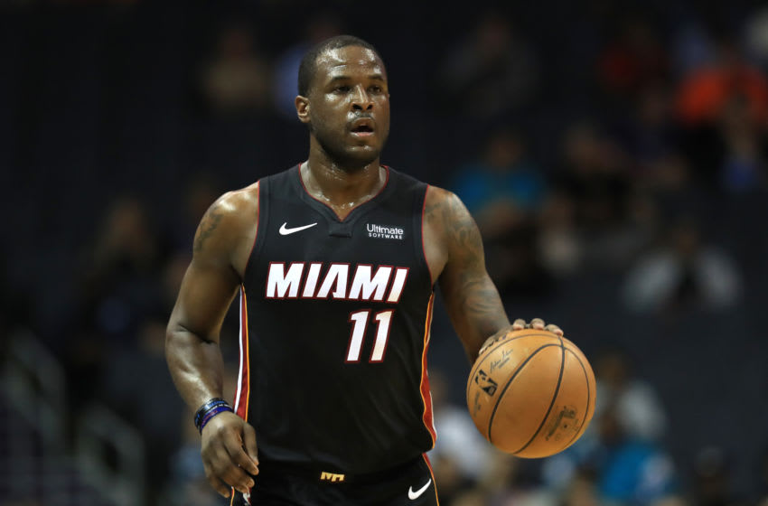 CHARLOTTE, NORTH CAROLINA - OCTOBER 09: Dion Waiters #11 of the Miami Heat brings the ball up the court against the Charlotte Hornets during their game at Spectrum Center on October 09, 2019 in Charlotte, North Carolina. NOTE TO USER: User expressly acknowledges and agrees that, by downloading and or using this photograph, User is consenting to the terms and conditions of the Getty Images License Agreement. (Photo by Streeter Lecka/Getty Images)