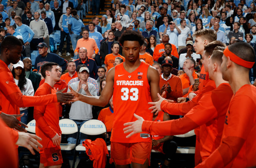 CHAPEL HILL, NC - FEBRUARY 26: Elijah Hughes #33 of the Syracuse Orange plays during a game against the North Carolina Tar Heels on February 26, 2019 at the Dean Smith Center in Chapel Hill, North Carolina. North Carolina won 93-85. (Photo by Peyton Williams/UNC/Getty Images)