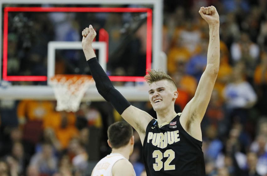LOUISVILLE, KENTUCKY - MARCH 28: Matt Haarms #32 of the Purdue Boilermakers celebrates after defeating Tennessee Volunteers in overtime of the 2019 NCAA Men's Basketball Tournament South Regional at the KFC YUM! Center on March 28, 2019 in Louisville, Kentucky. (Photo by Kevin C. Cox/Getty Images)