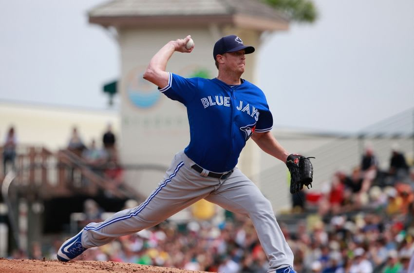 Mar 3, 2016; Bradenton, FL, USA; Toronto Blue Jays starting pitcher Gavin Floyd (39) throws a pitch during the first inning against the Pittsburgh Pirates at McKechnie Field. Mandatory Credit: Kim Klement-USA TODAY Sports