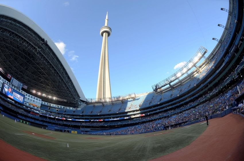 Aug 27, 2014; Toronto, Ontario, CAN; Rogers Stadium and the CN Tower before the Toronto Blue Jays play the Boston Red Sox. Mandatory Credit: Peter Llewellyn-USA TODAY Sports