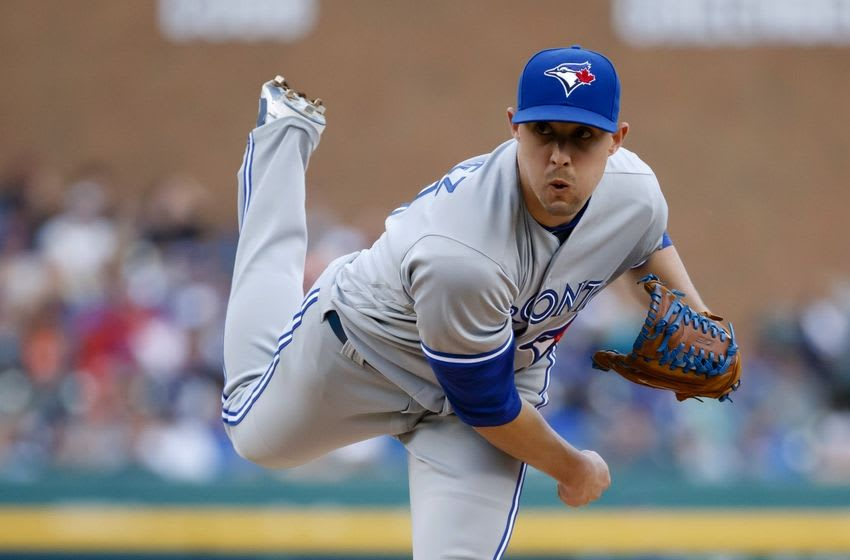 Jun 7, 2016; Detroit, MI, USA; Toronto Blue Jays starting pitcher Aaron Sanchez (41) pitches in the first inning against the Detroit Tigers at Comerica Park. Mandatory Credit: Rick Osentoski-USA TODAY Sports