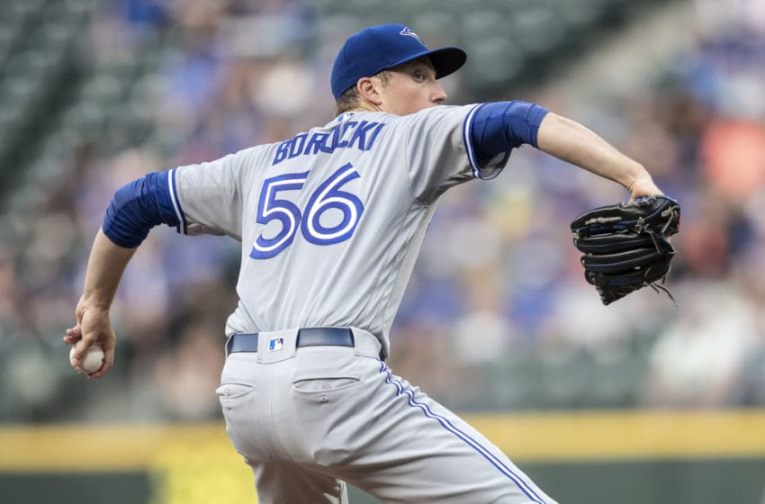 SEATTLE, WA - AUGUST 3: Starter Ryan Borucki #56 of the Toronto Blue Jays delivers a pitch during the first inning of a game against the Seattle Mariners at Safeco Field on August 3, 2018 in Seattle, Washington. (Photo by Stephen Brashear/Getty Images)