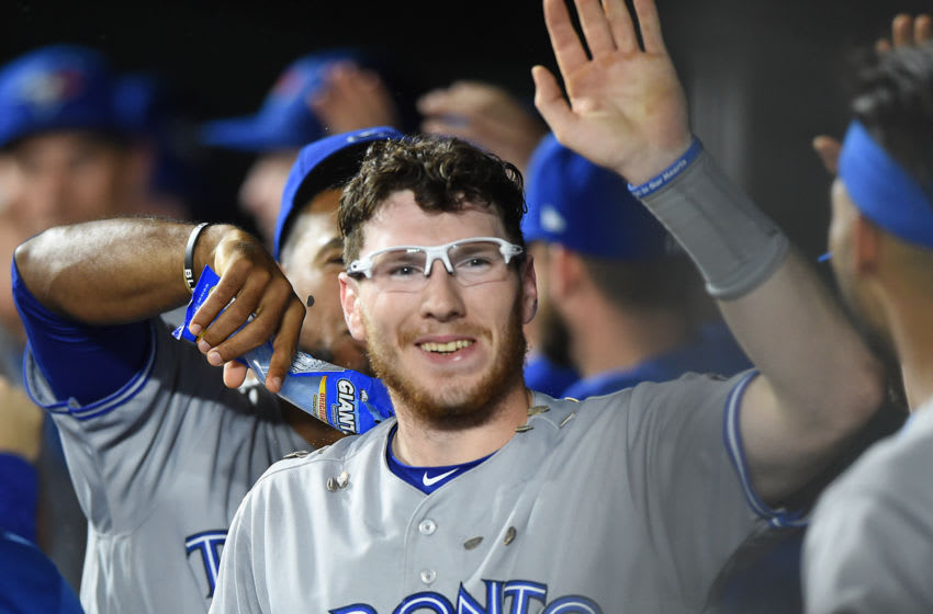 BALTIMORE, MD - SEPTEMBER 17: Danny Jansen #9 of the Toronto Blue Jays celebrates hitting a two run home run in the second inning during a baseball game against the Baltimore Orioles at Oriole Park at Camden Yards on September 17, 2018 in Baltimore, Maryland. (Photo by Mitchell Layton/Getty Images)