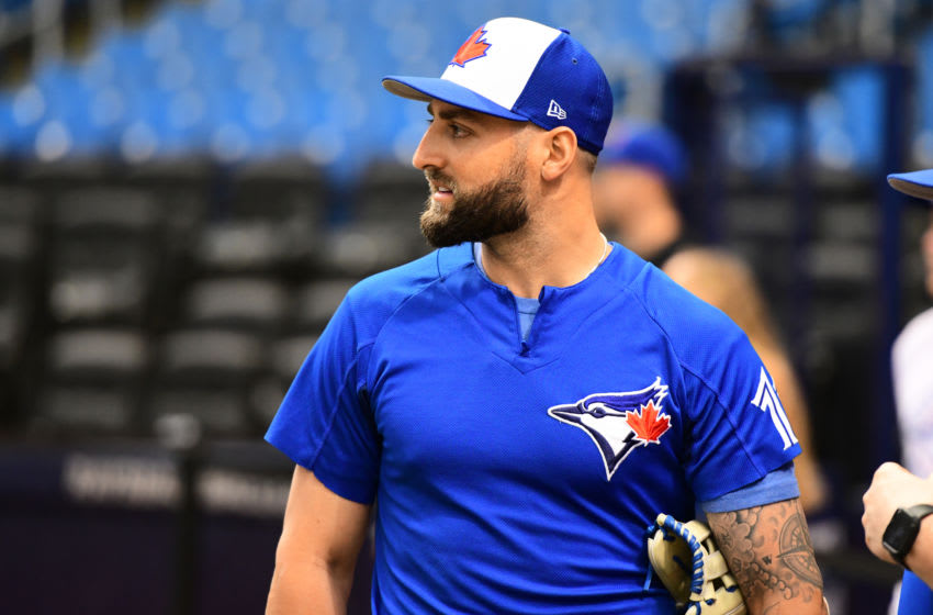 ST PETERSBURG, FL - SEPTEMBER 28: Kevin Pillar #11 of the Toronto Blue Jays looks on to the field during batting practice before a game against the Tampa Bay Rays on September 28, 2018 at Tropicana Field in St Petersburg, Florida. (Photo by Julio Aguilar/Getty Images)