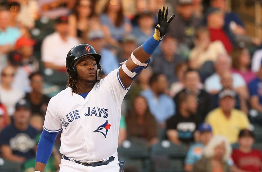 SURPRISE, AZ - NOVEMBER 03: AFL West All-Star, Vladimir Guerrero Jr #27 of the Toronto Blue Jays bats during the Arizona Fall League All Star Game at Surprise Stadium on November 3, 2018 in Surprise, Arizona. (Photo by Christian Petersen/Getty Images)