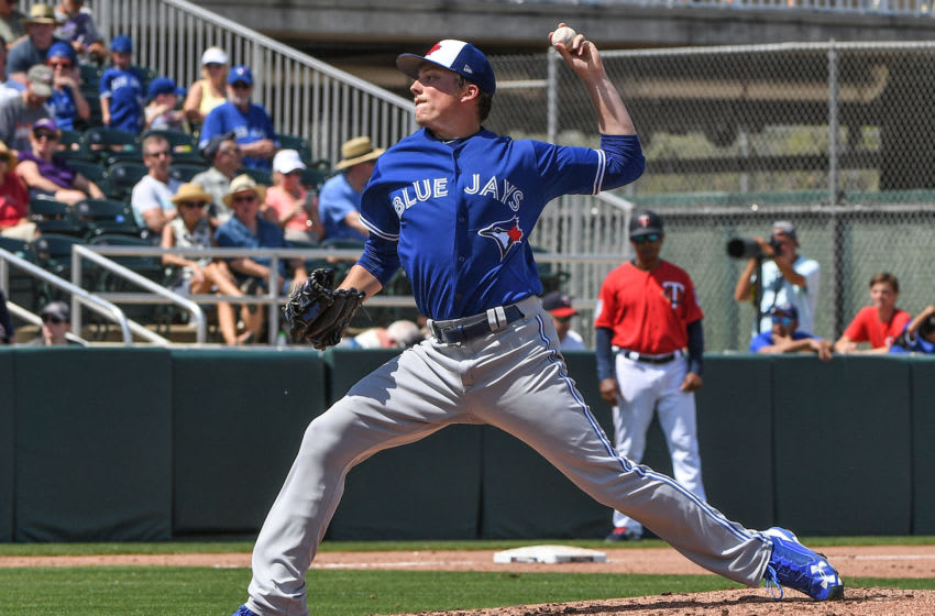 FORT MYERS, FL - MARCH 10: Ryan Borucki #56 of the Toronto Blue Jays pitches in the second inning in the spring training game against the Minnesota Twins at Hammond Stadium on March 10, 2019 in Fort Myers, Florida. (Photo by Mark Brown/Getty Images)