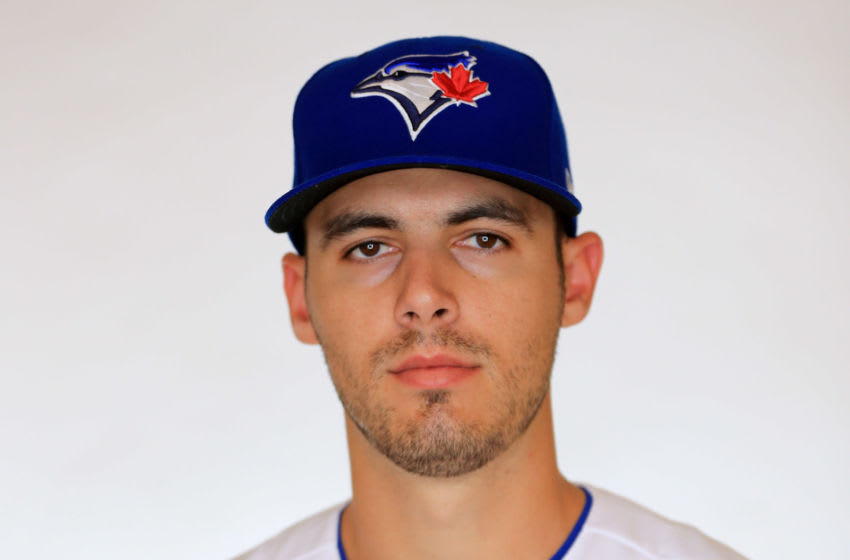 DUNEDIN, FLORIDA - FEBRUARY 22: Julian Merryweather #59 of the Toronto Blue Jays poses for a portrait during photo day at Dunedin Stadium on February 22, 2019 in Dunedin, Florida. (Photo by Mike Ehrmann/Getty Images)