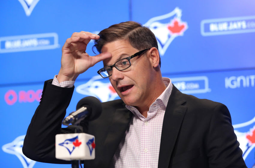 TORONTO, ON - APRIL 02: General manager Ross Atkins of the Toronto Blue Jays addresses the media after completing a trade earlier in the day that sent Kevin Pillar #11 to the San Francisco Giants during MLB game action against the Baltimore Orioles at Rogers Centre on April 2, 2019 in Toronto, Canada. (Photo by Tom Szczerbowski/Getty Images)