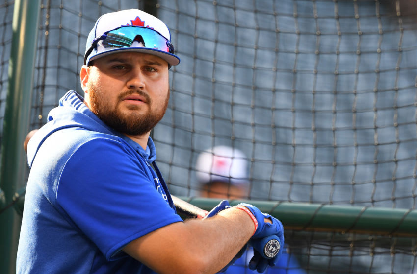 ANAHEIM, CA - MAY 01: Rowdy Tellez #44 of the Toronto Blue Jays laughs during batting practice before the game against the Los Angeles Angels of Anaheim at Angel Stadium of Anaheim on May 1, 2019 in Anaheim, California. (Photo by Jayne Kamin-Oncea/Getty Images)