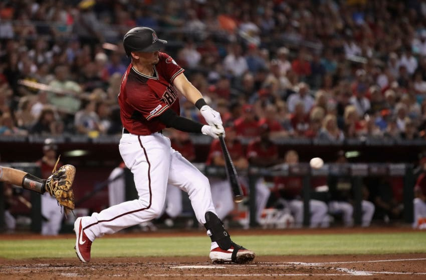 PHOENIX, ARIZONA - JUNE 23: Caleb Joseph #14 of the Arizona Diamondbacks bats against the San Francisco Giants during the MLB game at Chase Field on June 23, 2019 in Phoenix, Arizona. The Diamondbacks defeated the Giants 3-2 in 10 innings. (Photo by Christian Petersen/Getty Images)