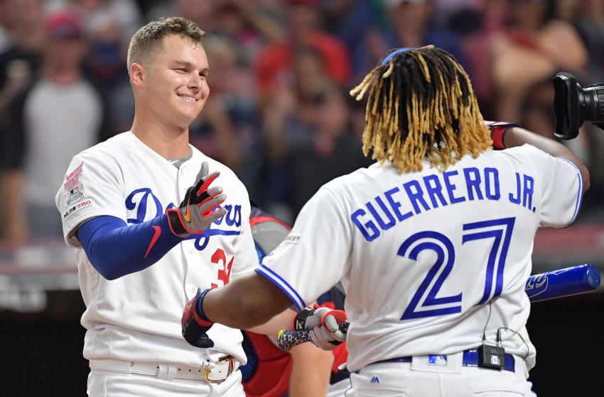 CLEVELAND, OHIO - JULY 08: Vladimir Guerrero Jr. of the Toronto Blue Jays reacts after knocking out Joc Pederson of the Los Angeles Dodgers in the T-Mobile Home Run Derby at Progressive Field on July 08, 2019 in Cleveland, Ohio. (Photo by Jason Miller/Getty Images)