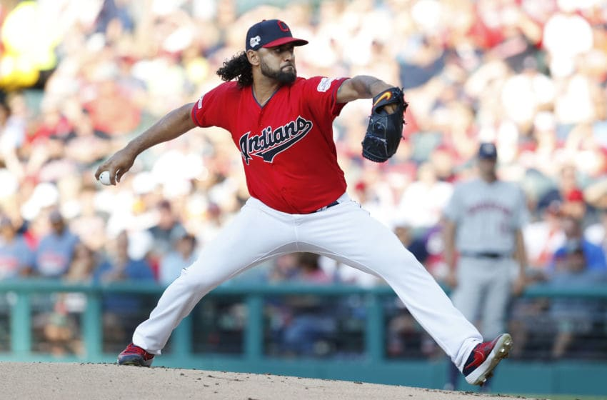CLEVELAND, OH - AUGUST 01: Danny Salazar #31 of the Cleveland Indians pitches against the Houston Astros in the first inning at Progressive Field on August 1, 2019 in Cleveland, Ohio. The Astros defeated the Indians 7-1. (Photo by David Maxwell/Getty Images)