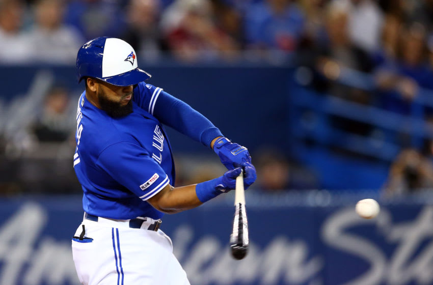 TORONTO, ON - SEPTEMBER 15: Richard Urena #7 of the Toronto Blue Jays hits an RBI double in the second inning during a MLB game against the New York Yankees at Rogers Centre on September 15, 2019 in Toronto, Canada. (Photo by Vaughn Ridley/Getty Images)