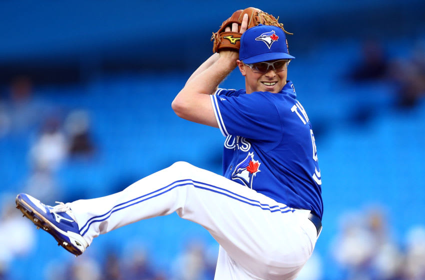 TORONTO, ON - AUGUST 30: Trent Thornton #57 of the Toronto Blue Jays delivers a pitch in the first inning during a MLB game against the Houston Astros at Rogers Centre on August 30, 2019 in Toronto, Canada. (Photo by Vaughn Ridley/Getty Images)
