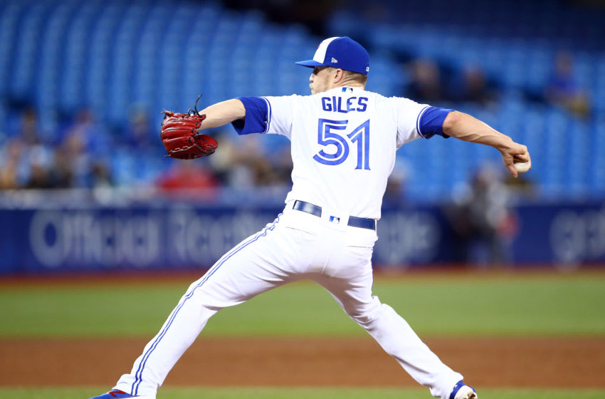 TORONTO, ON - SEPTEMBER 10: Ken Giles #51 of the Toronto Blue Jays delivers a pitch in the ninth inning during a MLB game against the Boston Red Sox at Rogers Centre on September 10, 2019 in Toronto, Canada. (Photo by Vaughn Ridley/Getty Images)
