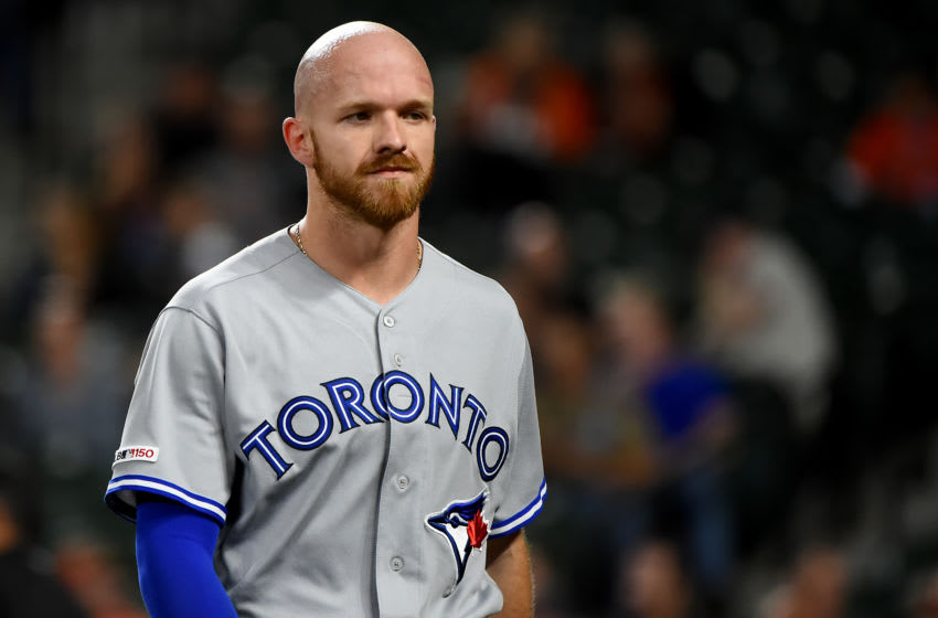 BALTIMORE, MD - SEPTEMBER 18: Derek Fisher #20 of the Toronto Blue Jays looks on during the game against the Baltimore Orioles at Oriole Park at Camden Yards on September 18, 2019 in Baltimore, Maryland. (Photo by Will Newton/Getty Images)