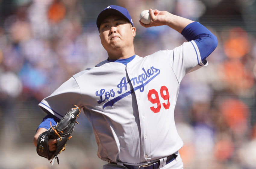SAN FRANCISCO, CALIFORNIA - SEPTEMBER 28: Hyun-Jin Ryu #99 of the Los Angeles Dodgers pitches against the San Francisco Giants in the bottom of the first inning at Oracle Park on September 28, 2019 in San Francisco, California. (Photo by Thearon W. Henderson/Getty Images)