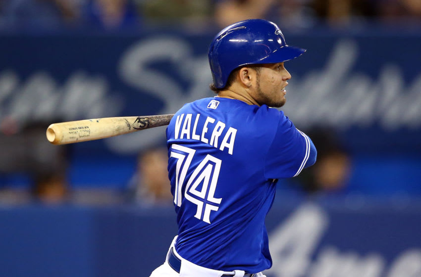 TORONTO, ON - SEPTEMBER 25: Breyvic Valera #74 of the Toronto Blue Jays grounds out in the fifth inning during a MLB game against the Baltimore Orioles at Rogers Centre on September 25, 2019 in Toronto, Canada. (Photo by Vaughn Ridley/Getty Images)