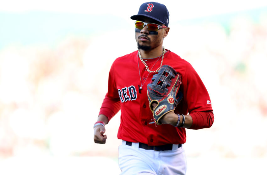 BOSTON, MASSACHUSETTS - SEPTEMBER 29: Mookie Betts #50 of the Boston Red Sox runs to the dugout during the fifth inning against the Baltimore Orioles at Fenway Park on September 29, 2019 in Boston, Massachusetts. (Photo by Maddie Meyer/Getty Images)
