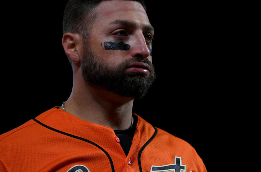 SAN FRANCISCO, CALIFORNIA - SEPTEMBER 27: Kevin Pillar #1 of the San Francisco Giants during their MLB game against the Los Angeles Dodgers at Oracle Park on September 27, 2019 in San Francisco, California. (Photo by Robert Reiners/Getty Images)