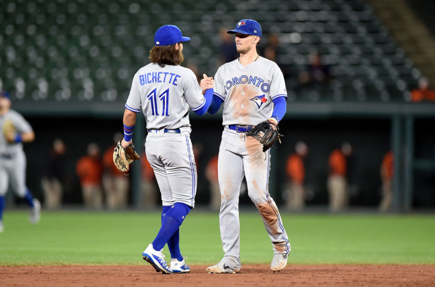 BALTIMORE, MD - SEPTEMBER 17: Cavan Biggio #8 of the Toronto Blue Jays celebrates with Bo Bichette #11 after a 8-5 victory against the Baltimore Orioles at Oriole Park at Camden Yards on September 17, 2019 in Baltimore, Maryland. (Photo by G Fiume/Getty Images)