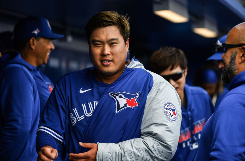 DUNEDIN, FLORIDA - FEBRUARY 27: Hyun-Jin Ryu #99 of the Toronto Blue Jays in the dugout after pitching in the second inning during the spring training game against the Minnesota Twins at TD Ballpark on February 27, 2020 in Dunedin, Florida. (Photo by Mark Brown/Getty Images)