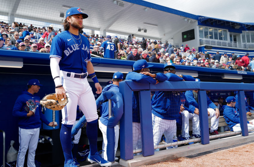 DUNEDIN, FLORIDA - FEBRUARY 27: Bo Bichette #11 of the Toronto Blue Jays waits to take the field during the spring training game against the Minnesota Twins at TD Ballpark on February 27, 2020 in Dunedin, Florida. (Photo by Mark Brown/Getty Images)