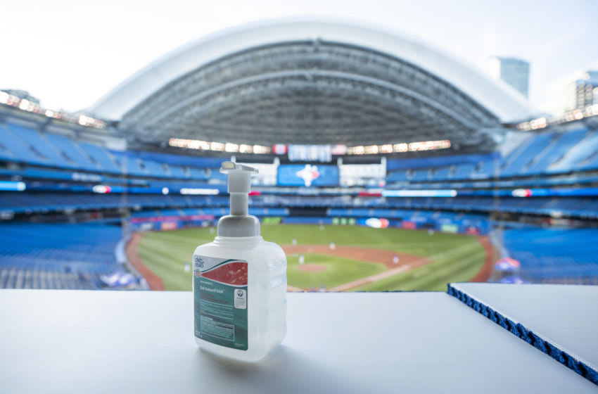 TORONTO, ON - JULY 09: Hand sanitizer is seen during a summer workout by the Toronto Blue Jays at Rogers Centre on July 9, 2020 in Toronto, Canada. (Photo by Mark Blinch/Getty Images)