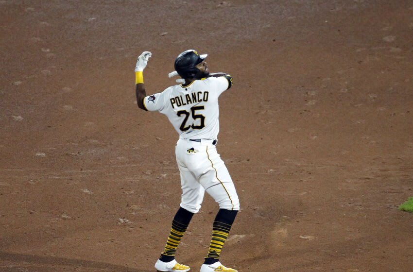 PITTSBURGH, PA - AUGUST 26: Gregory Polanco #25 of the Pittsburgh Pirates celebrates after hitting a two RBI double in the seventh inning against the St. Louis Cardinals during the game at PNC Park on August 26, 2021 in Pittsburgh, Pennsylvania. (Photo by Justin K. Aller/Getty Images)
